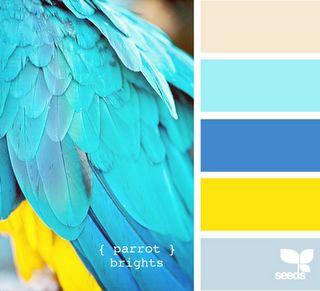 Bath- Pallete: Color Palettes, Bathroom Colors, Design Seeds, Parrots Bright, Colors Palettes, Colors Schemes Blue Yellow, Beaches Houses, Bathroom Colour, Bright Colors Schemes