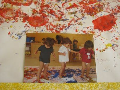 Reggio, Italy: toddler mural w photo documentation of process (in finished art)