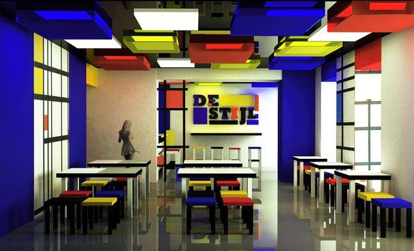 De Stijl Interior Design De Stijl Cafe On Behance