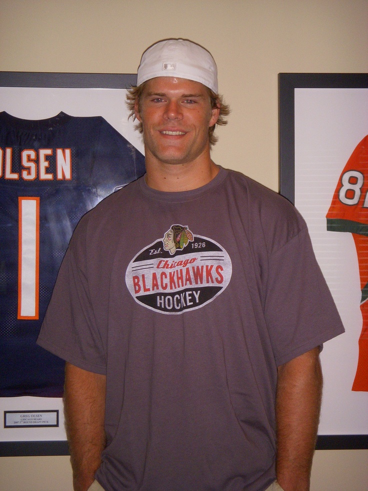 Greg Olsen (Chicago Bears TE) I love that he is wearing a Blackhawks shirt