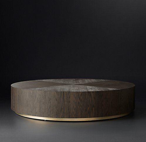 Machinto Round Occasional - Brown Oak/Brass (MODCASE15) | RH Modern
