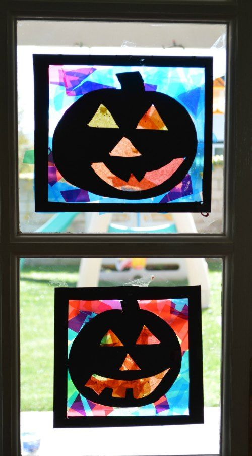 Pumpkin Silhouettes. Halloween craft for kids.