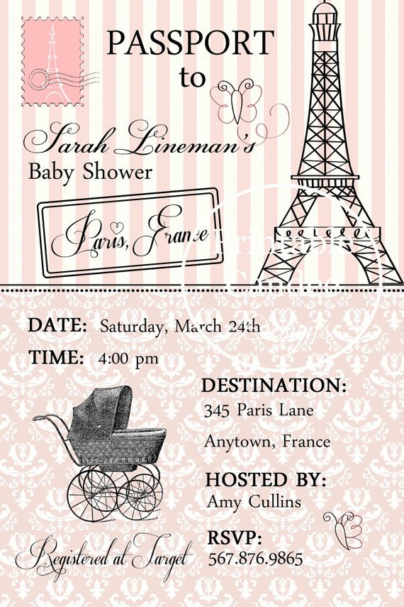 Passport to Paris Baby Shower Invitation  by printablecandee, $10.00  Ok HALEY, type in paris baby shower in the search... WAY too many beautiful ideas to post!!!