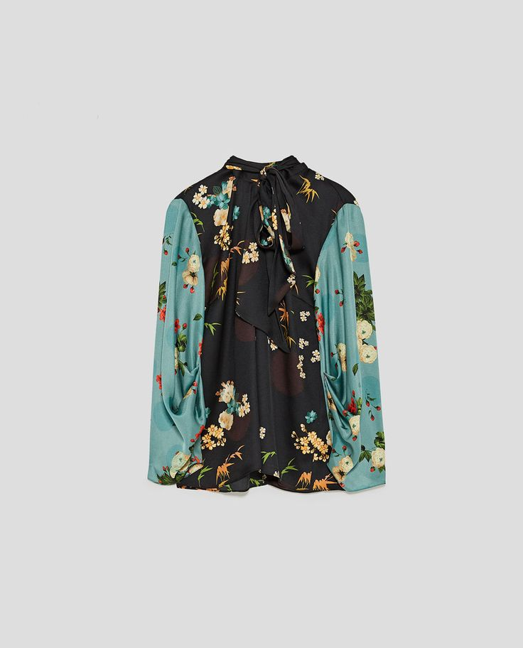 Image 8 of PRINTED BLOUSE WITH BOW from Zara