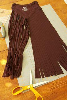 DIY fringe tshirt scarf BrassyApple.com