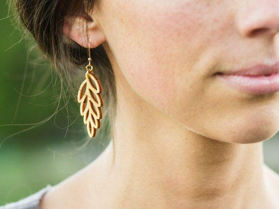 Leaf Earrings | Fall Earrings | Laser cut wood Earrings | Rustic Earrings | Leaf Jewelry | Gifts for the Nature Lover