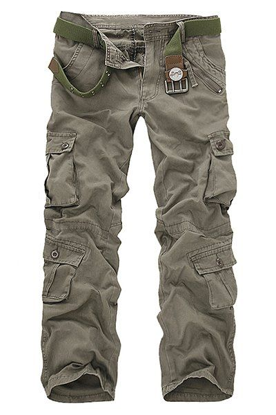 Multi-Pocket and Zipper Embellished Straight Leg Loose Fit Cargo Pants For Men #women, #men, #hats, #watches, #belts, #fashion, #style
