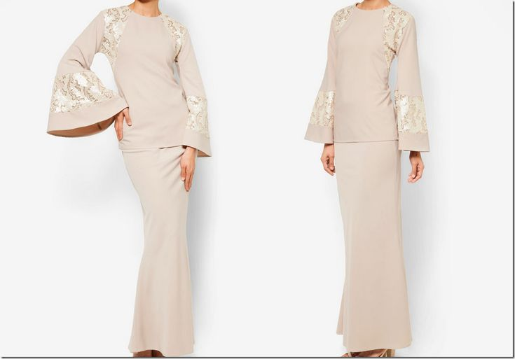 modern baju kurung with bell sleeves <3
