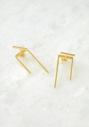 Bar and U layer earring - Gold