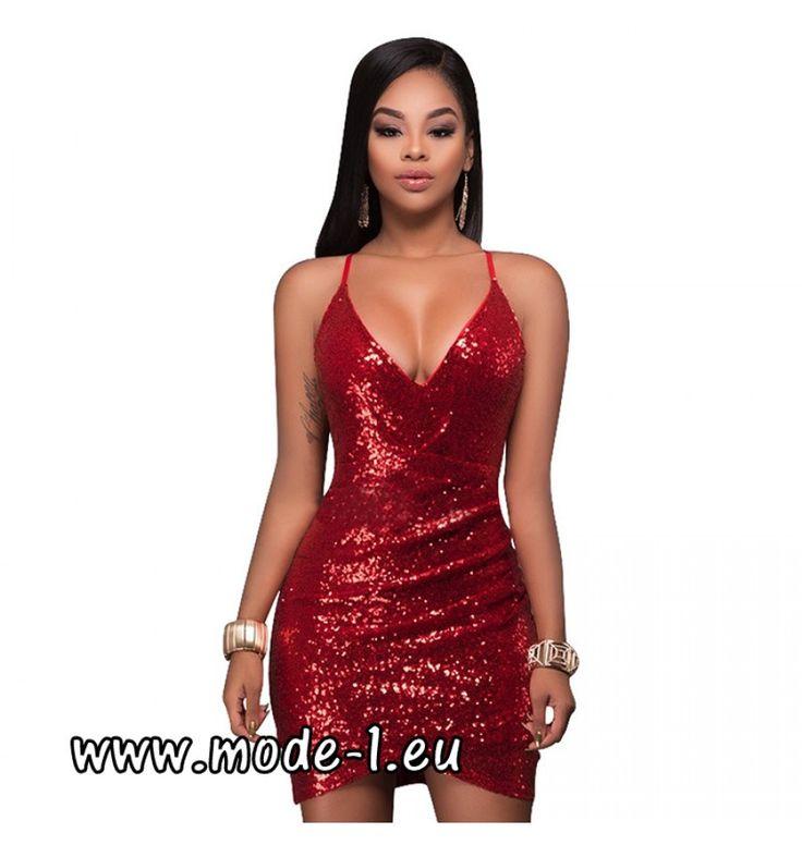 Sexy Mini Pailletten Kleid in Rot
