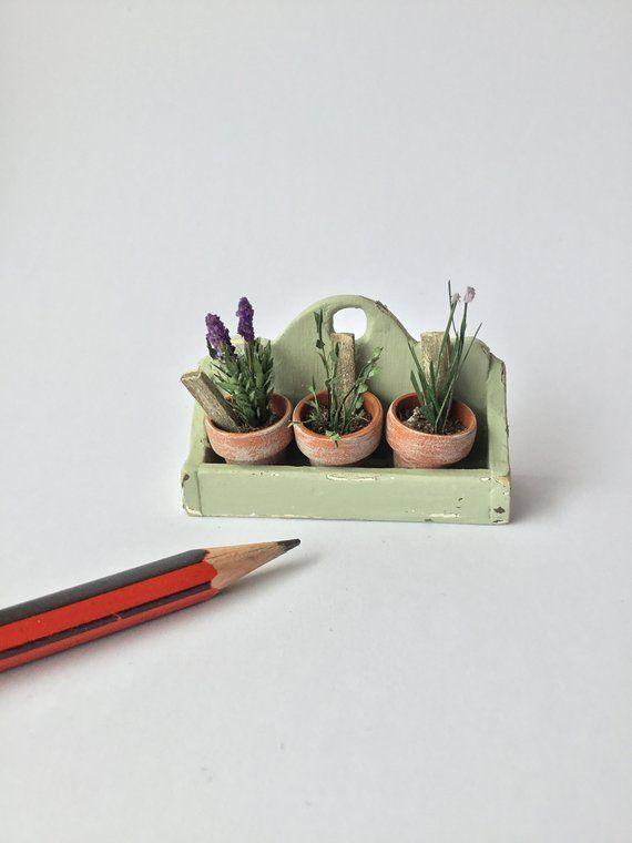 Dolls, Bears Miniature Dollhouse 1:12 Scale Garden Planter Box Flower Pot