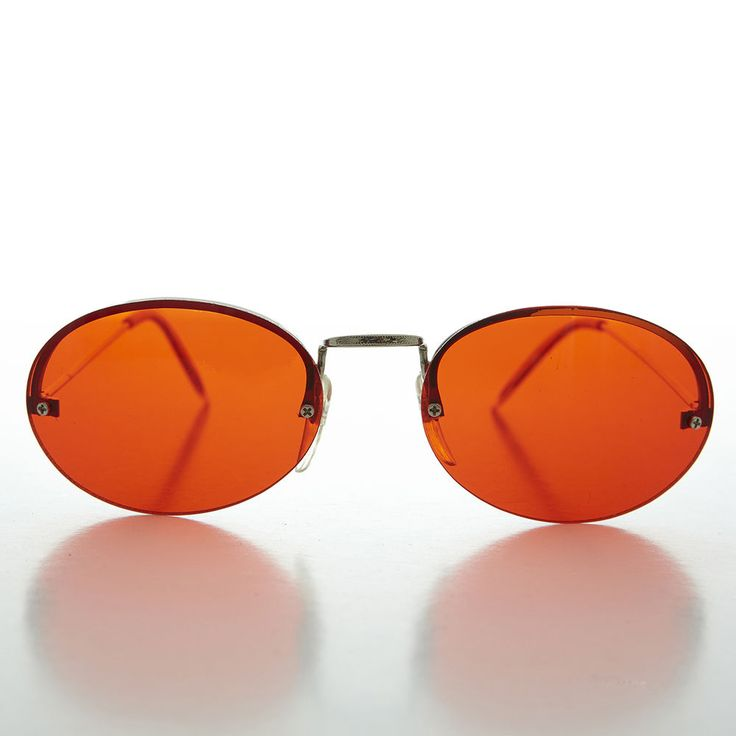 90s Oval Rimless Colored Lens Vintage Sunglass