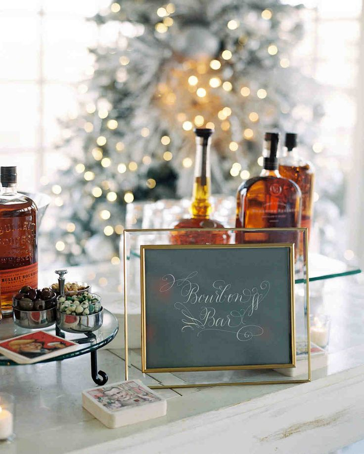 A Christmas-Themed Wedding in Washington, D.C. | Martha Stewart Weddings - A help-yourself bourbon bar, featuring the couple's favorite spirit, was there for the sipping during the pre-dinner cocktail hour.