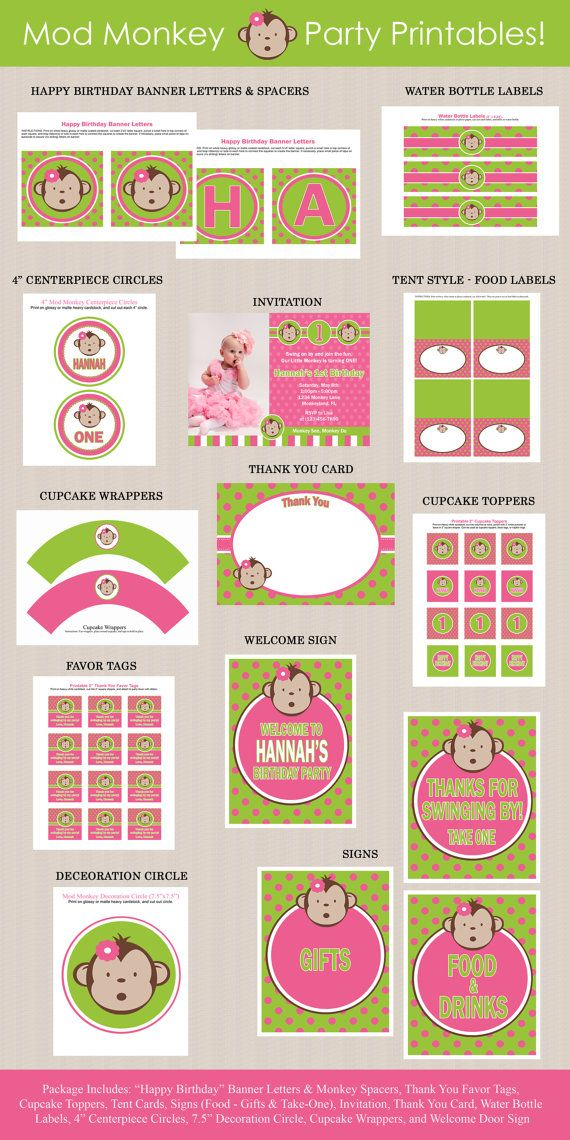 Pink Mod Monkey Birthday Party Package by Honeyprint on Etsy, $35.00