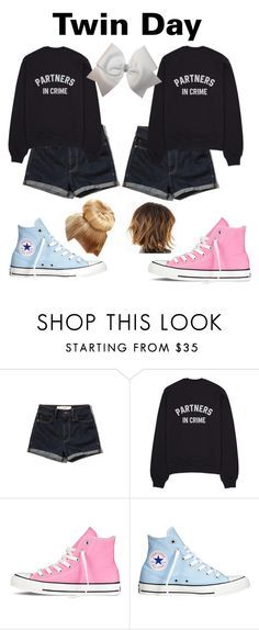 """""""Twin Day at School"""" by aspynseifert ❤ liked on Polyvore featuring Abercrombie & Fitch, Converse, women's clothing, women, female, woman, misses and juniors"""