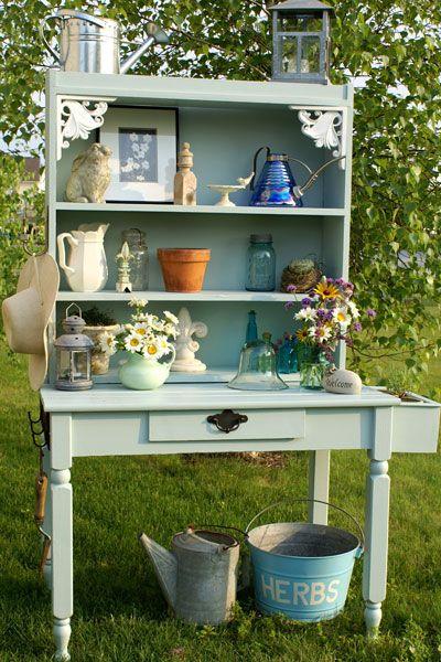 Five Fabulous Potting Benches: Modern Gardens, Gardens Party, Gardens Design Idea, Kitchens Hutch, Potting Benches, Fabulously Pot, I'M, Veggies Gardens, Pot Benches