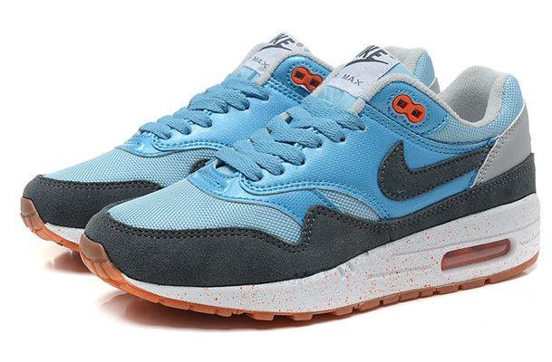 Cheap Nike Air Max 1 Air Max 87 Women Shoes Light Blue Charcoal Brown