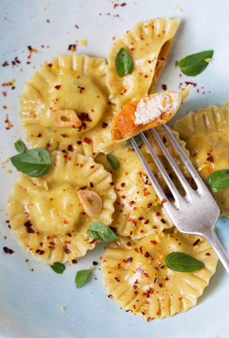 Vegan ravioli with pumpkin and ricotta - Lazy Cat Kitchen PASTA 300 g / 10.5 oz 00 flour*  1/3 tsp turmeric ½ cup + 2 tbsp / 150 ml reduced aquafaba,