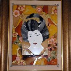 Üvegfestett falikép - Női alak
