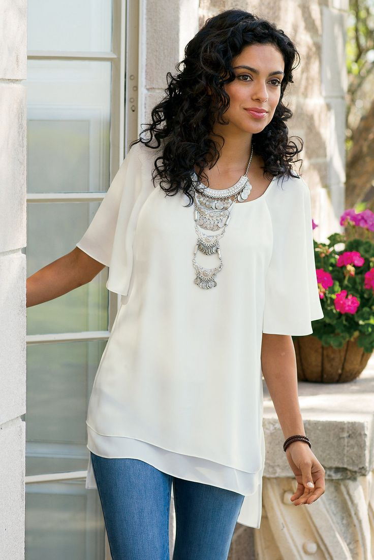 Pretty, fluttery raglan sleeves are just the start of this silky Flutter Sleeve Top that pairs with practically anything.