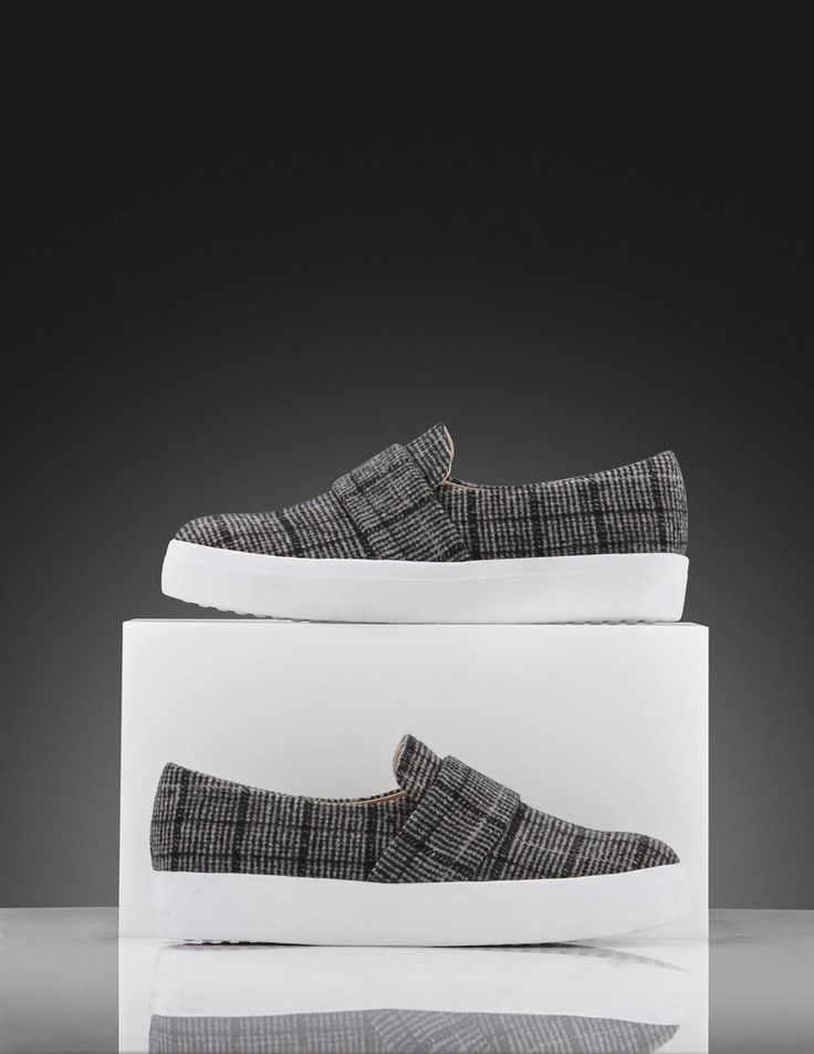 Yvonne W sneakers-Women's slip-on sneaker in woven checked fabric. Features a wide strap across front of shoe in same fabric. Rubber outsole.