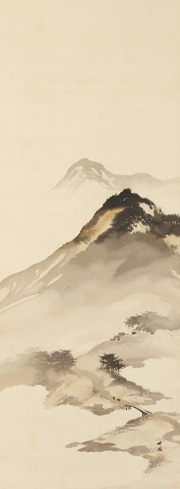Mountain Landscape with Bridge: by Odake Chikuha, (1878-1936) Japanese modern movement (1912-1998)
