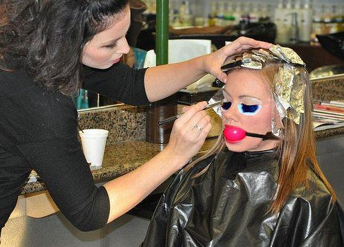 Nice hair salon public disgrace bondage what