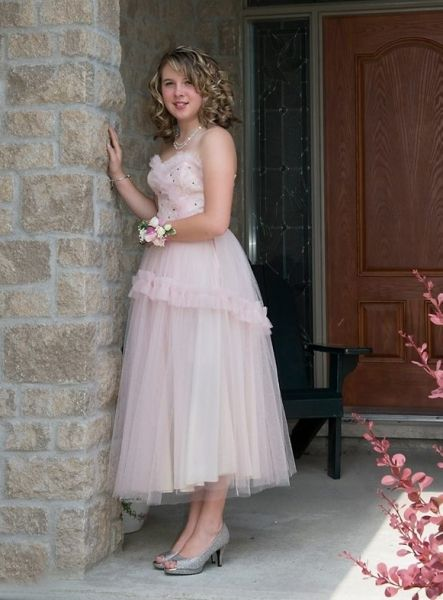 Shelby - just adorable in her late 1940's pink tulle confection.