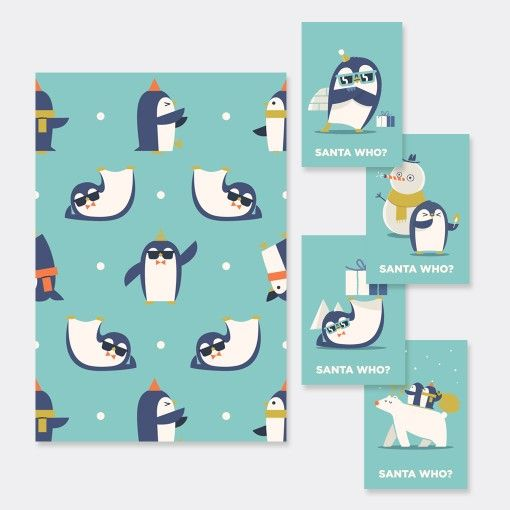 Pinguini Kit wrapping paper and 4 greeting cards designed by Hikimi