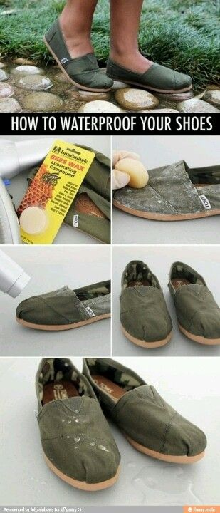 Wish I knew this last month. waterproof shoes beeswax lifehack life hack