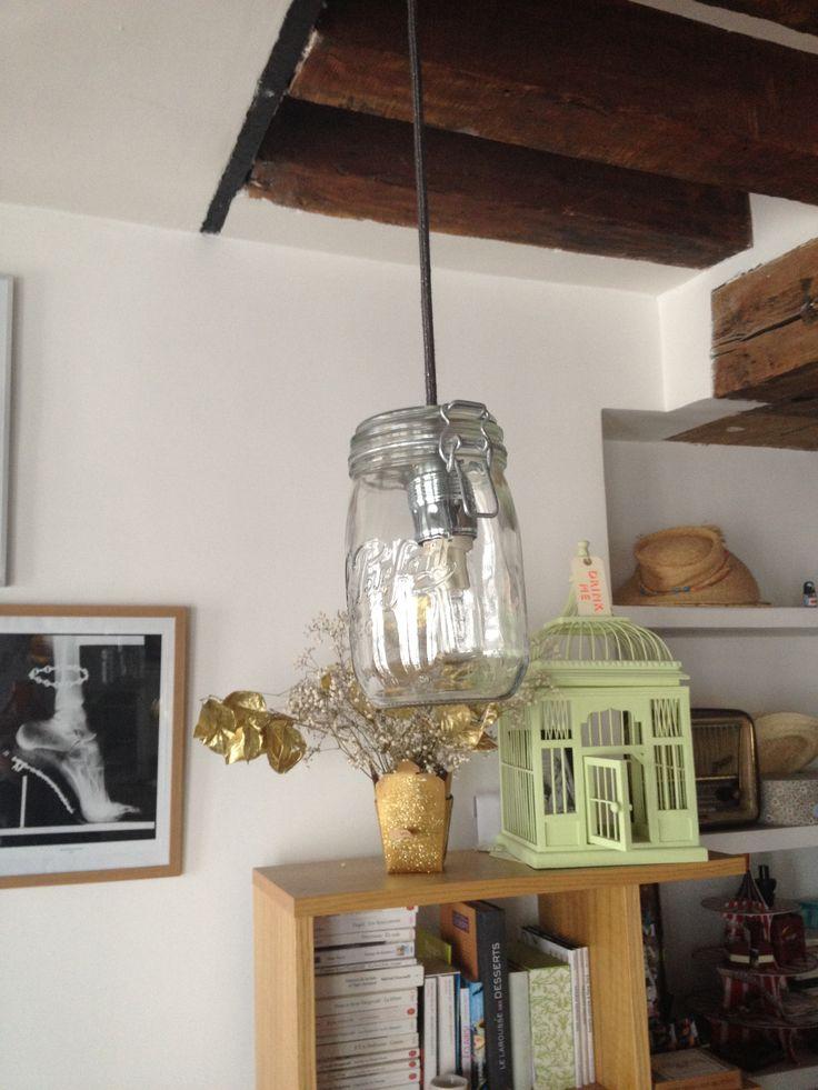 DIY_lampe_type mason jar_bocal vintage_suspension plafond