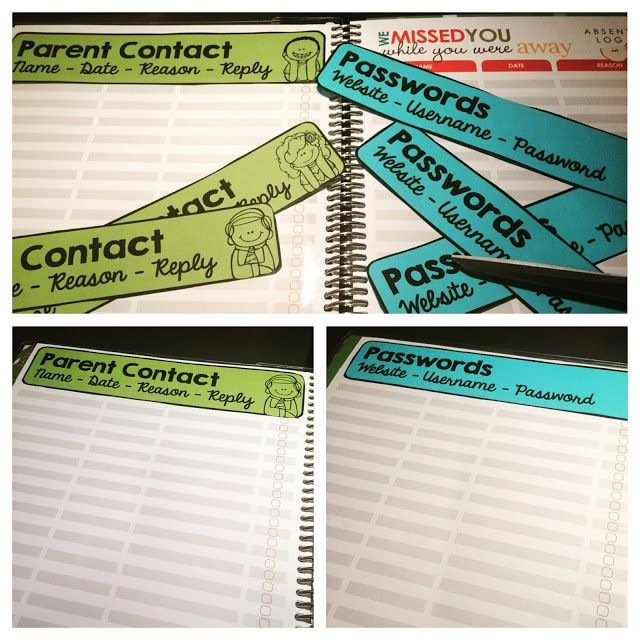 """Editable Erin Condren Teacher Planner Headers. Perfect for the """"Absent"""" section that you NEVER use!"""