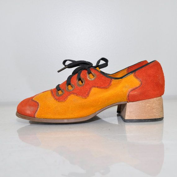 Vintage Mod 60s Orange / Orange Yellow Two Tone Sbicca Oxford Leather Suede Shoes