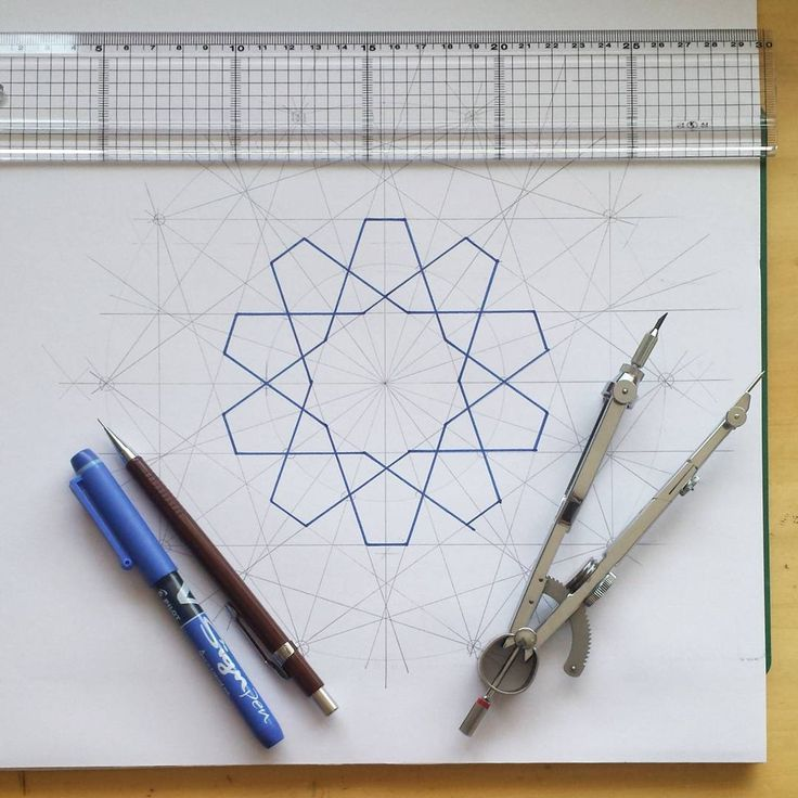 I never knew how to draw these rosettes with the tapered safts (petals)....then pow... I spotted the parallel lines... do you see them? Take a pair of safts and look at the outer edges of them and there you have it, they are parallel..!! Why didn't I see this before!?!? #geometry #Islamicpattern  #Islamicgeometry #pattern #compassandruler #pen #paper #compass #pilot