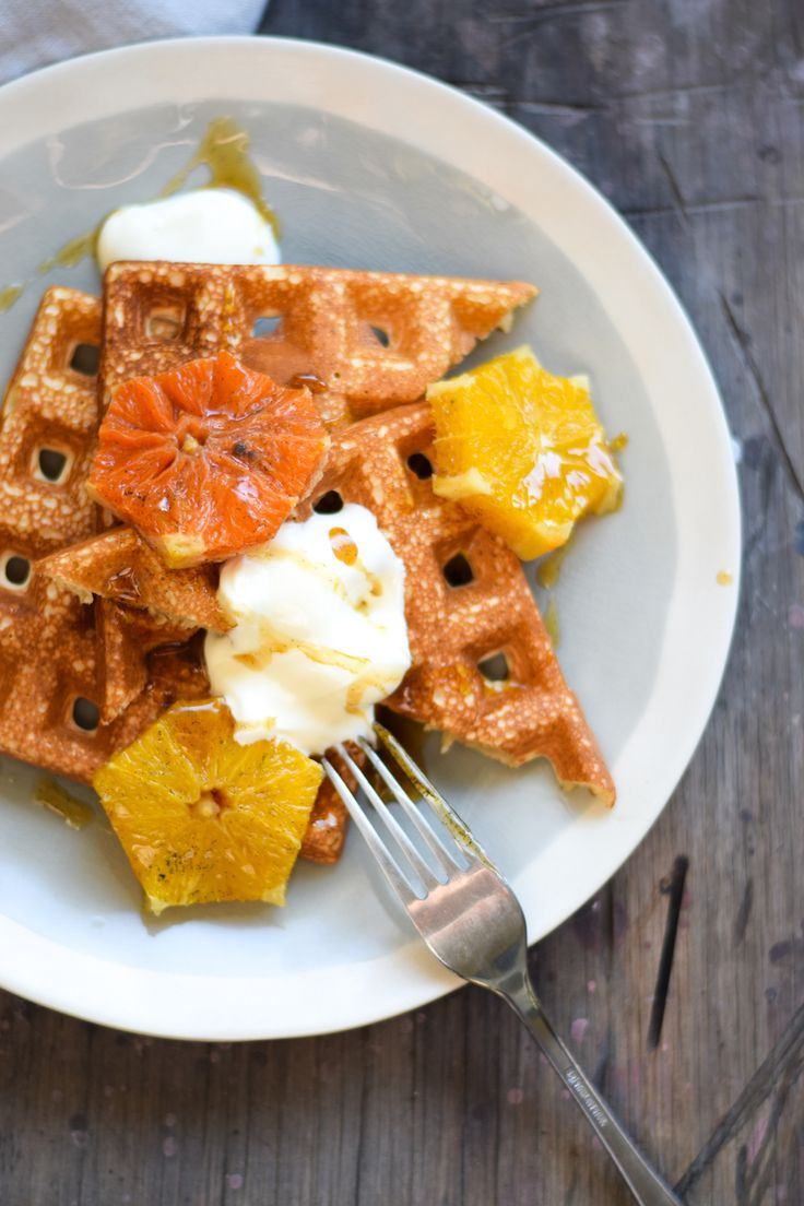 GLUTEN FREE QUINOA WAFFLES WITH HONEY AND CARDAMOM POACHED ORANGES