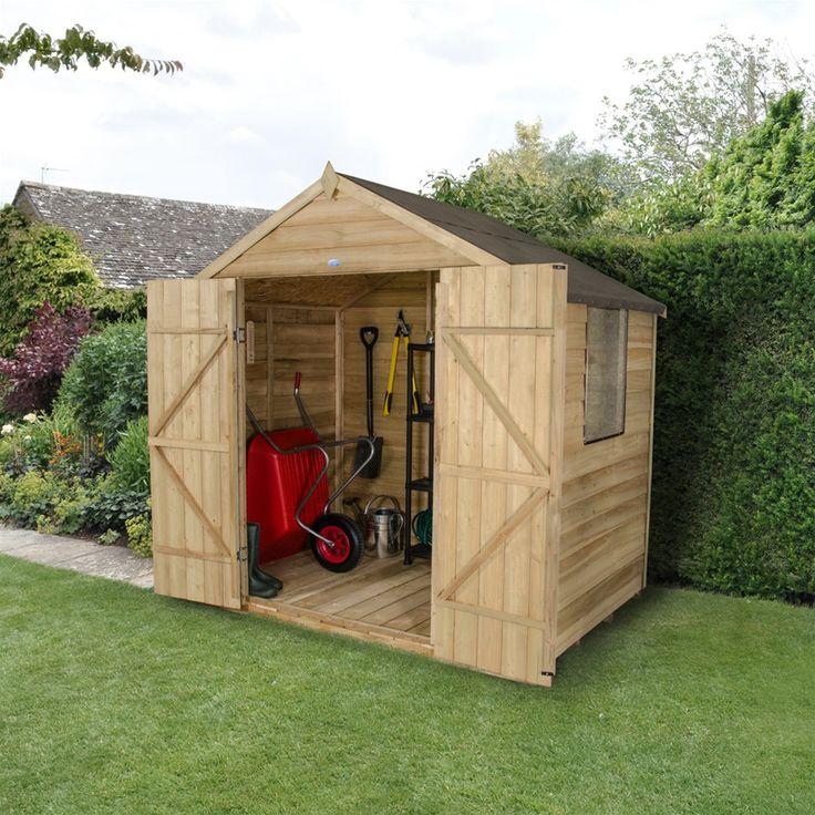 Forest Garden 7 x 5 Pressure Treated Double Door Overlap Apex Shed | Internet Gardener