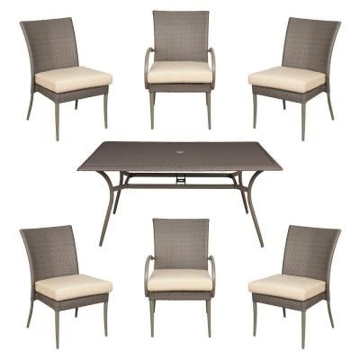 hampton bay posada patio dining set with cushion insert slipcovers sold separately at the home depot mobile - Hampton Bay Outdoor Furniture