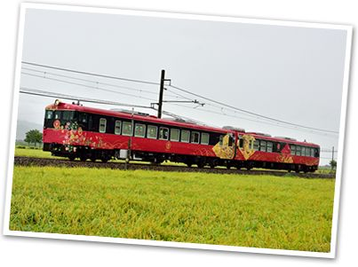 """Japan is a country full of beautiful sightseeing trains..Here is one of them, """"Love of Bride """" of Hokuriku, Japan. """" Hospitality of the beauty concept, the appearance of the design image of Wajima and Kaga Yuzen , which are the traditional craft sof Hokuriku.  これは北陸の「花嫁のれん」観光列車です。「花嫁のれん」は、車両全体で北陸の和と美を感じ、満喫できる列車となっています。"""