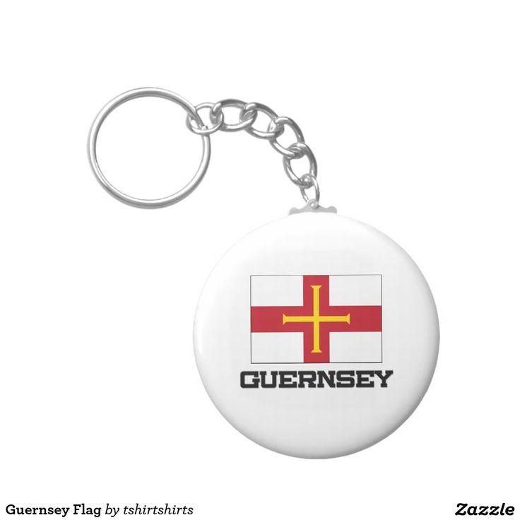 Guernsey Flag Basic Round Button Keychain