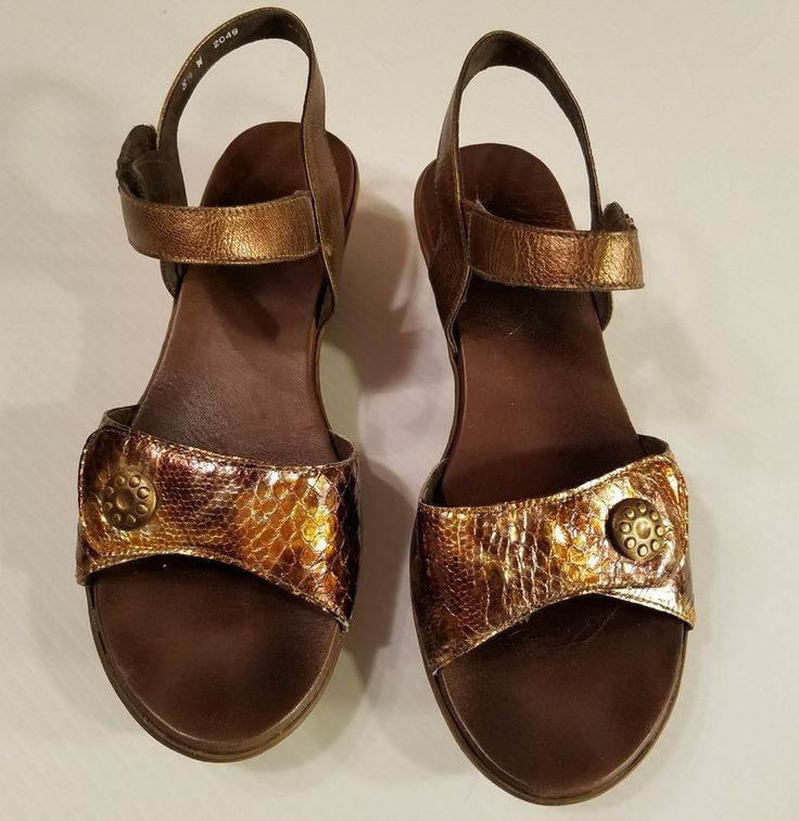 Munro Tyra Ankle Strap Sandals Leather Bronze Metallic Snakeskin Print Wedge 8W #Munro #AnkleStrap #Casual