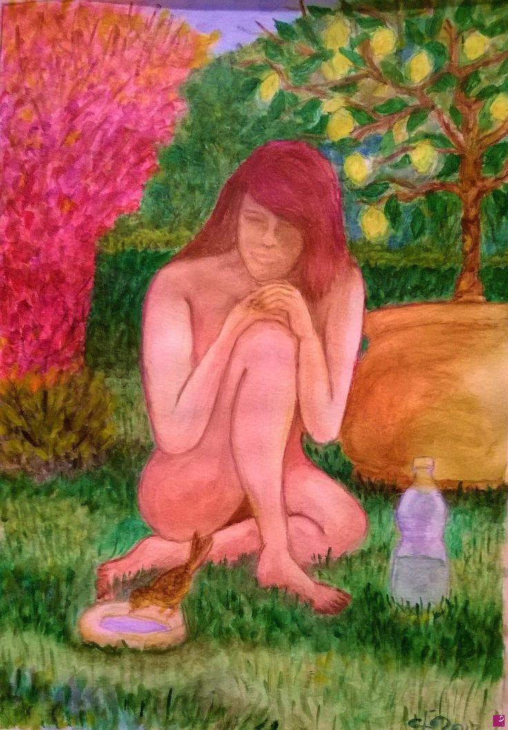 sola in giardino con l'uccellino di Francesco L'artennista