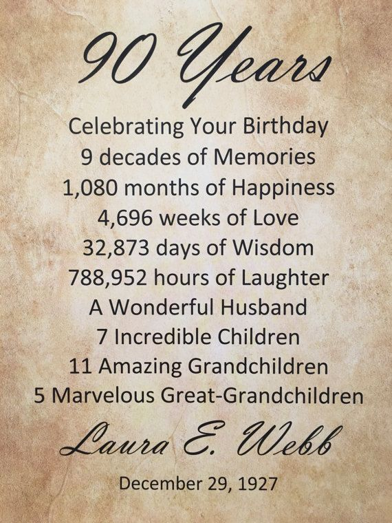 "90th Birthday Gift, Personalized, Birthday Party Decor, 8.5"" x 11"" Gift Print, 1927, 90 Years Old, Gift For Grandpa, Grandma, Mom, Dad"