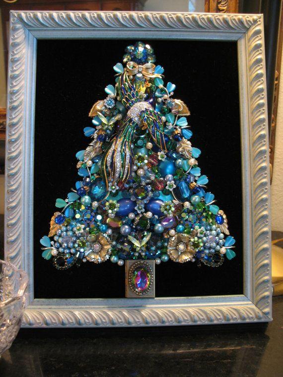 Peacock in Paradise - CUSTOM ORDER Framed Vintage Jewelry Christmas Tree by SunnyDayVintageAnnex, $445.00