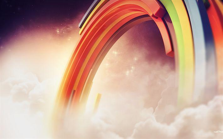 Lataa kuva rainbow, 3d art, pilvet, luova