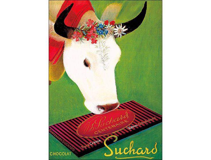 Suchard Chocolate 1937 Vintage Poster Print Retro Style Cow with Flowers Free US Post Low EU Post by VintagePosterPrints on Etsy