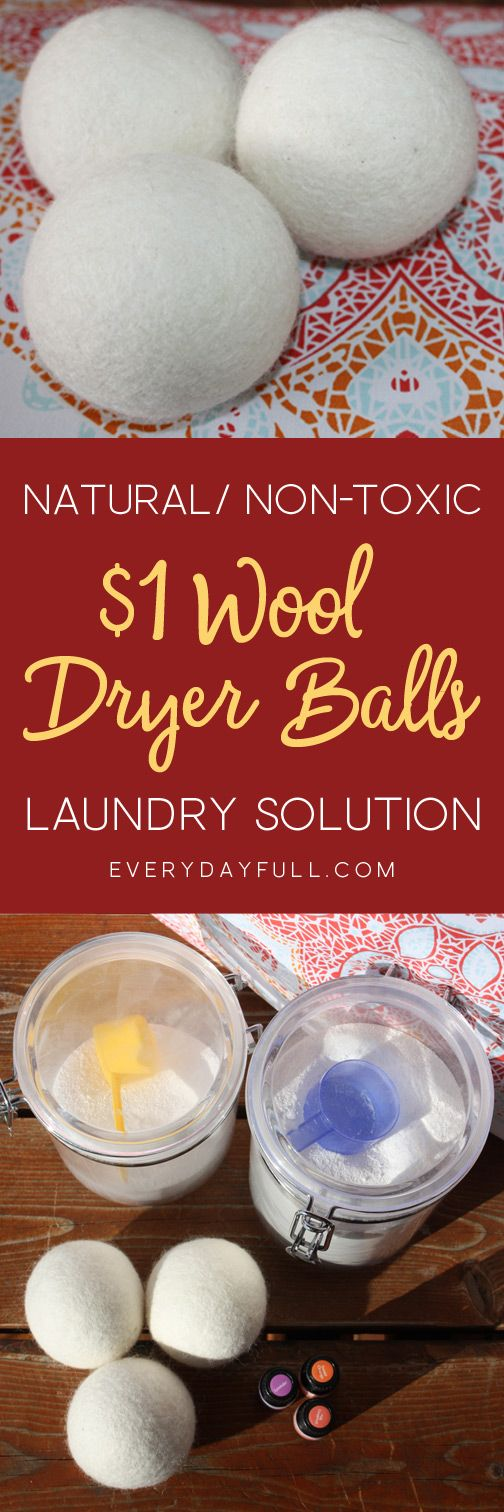 100% WOOL DRYER BALLS - Looking for an inexpensive natural and non-toxic laundry solution? How about wool dryer balls that cost just $1.