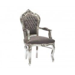 Poltrona sedia barocco argento grigio Luigi XVI braccioli legno gemme
