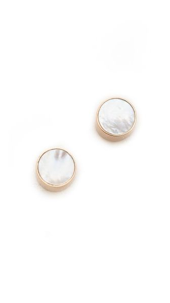 freshwater pearl cabochon stud earrings / ginette_ny