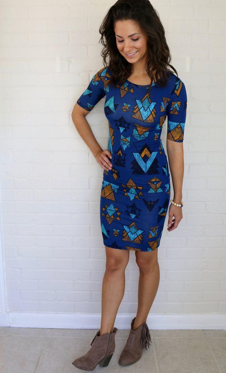 LuLaRoe Julia dress with fringe booties