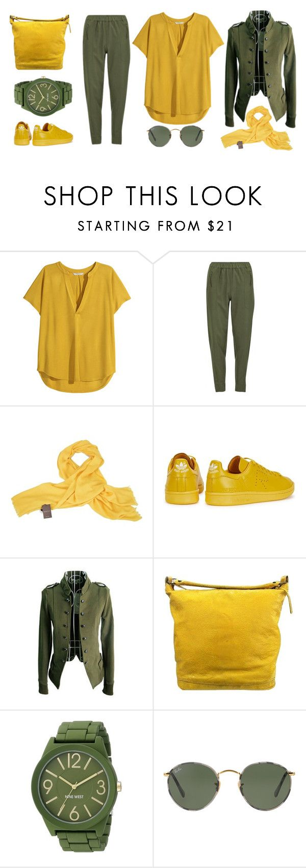 """in the army..."" by la224 on Polyvore featuring H&M, Vero Moda, Gucci, adidas, Balenciaga, Nine West and Ray-Ban"